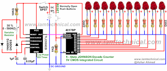 555 timer clock pulses 4017 johnson decade counter with variable Basic Electrical Wiring Diagrams at 4017 Wiring Diagram