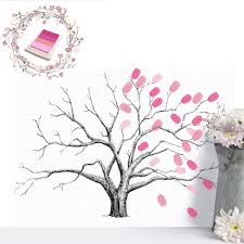 am diy fingerprint tree signature painting guest book wedding party wall decor 2 2 of 12