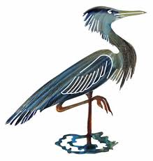 >great blue heron metal wall art