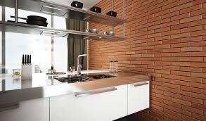Interior Decoration:Minimalist Modern Style Kitchen With Red Brick Wall  Elegant Steel Countertop 12 Stunning