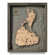 Wordens Pond Depth Chart Block Island Coastal Blue Grey