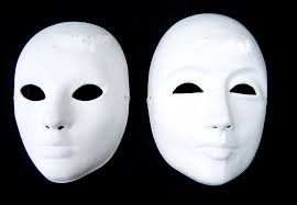 Plastic Masks To Decorate Thicken Unpainted White Men Masquerade Masks Paper Pulp Full Face 43