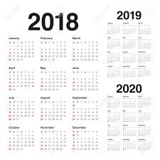 Year 2018 2019 2020 Calendar Vector Design Template Simple And
