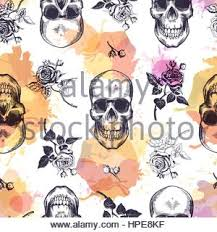 Human Skull With Roses Drawn In Tattoo Style Isolated On White
