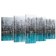 office artwork canvas. Interesting Artwork Kreative Arts  5pcs Blue Forest Canvas Wall Art Paintings Winter  Landscapes Of Black Trees Snow With Office Artwork