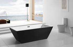 Akdy F273 Bathroom Black Color Free Standing Acrylic Bathtub