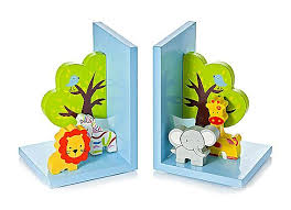jungle safari kids bookends boys s nursery bedroom decoration