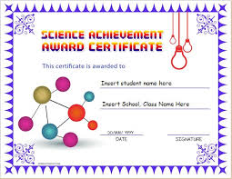 Achievement Awards Templates Science Achievement Award Certificates Word Excel Templates