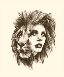 lioness face drawing. Delighful Lioness Lion Woman Face Great Tattoo Idea Drawing By Sarah McCloskey In Lioness Face Drawing N