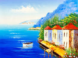 oil painting greece stock ilration ilration of painting 68326656