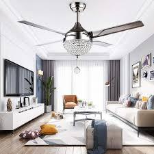 Palarlight Modern Crystal Ceiling Fan Lamp Led 3 Changing