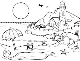 summer coloring pages vacation for kids printable hello kitty drinking free indian