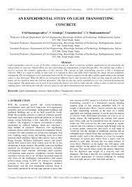Light Transmitting Concrete An Experimental Study On Light Transmitting Concrete