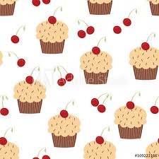 Seamless Cupcake Pattern Bakery Background Or Wallpaper Buy This