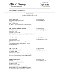 Resume Reference List Format Thisisantler