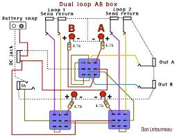 lost trying to make 2 channel switcher fx loop and high low this is basically what i need the only diffrence is that i need one or two more buttons to control weather my guitars input goes into the high or low input