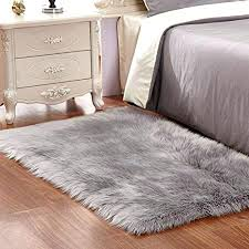 Safavieh Faux Sheepskin Rug Fur Grey Soft Fluffy Shaggy Rugs For Decorations 8