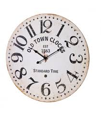 wall clock black wood mdf old town