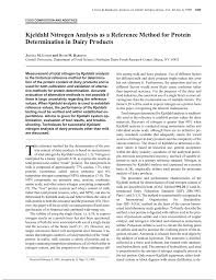 Kjeldahl Nitrogen Analysis As A Reference Method For Protein