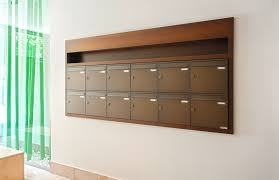 flush mounted mailbox bank with vertical boxes with special plaster cover frame image no 02221