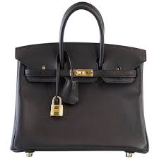 hermes birkin bag 25 black swift leather gold hardware for