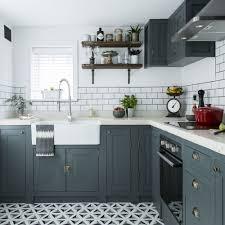 l shaped kitchen design gray