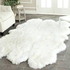 cream ivory faux fur oblong sheepskin rug impressing white at fake rugs area real furry carpet