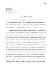 english close reading paper close reading essay digging by  3 pages essay 1
