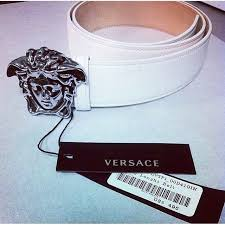 versace belt box. authentic white versace belt with silver medisa head!! get yours today while its still versace belt box