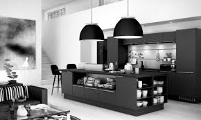 simple sleek kitchen with matte black island and big black lampshades