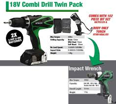 hitachi 18v drill. hitachi 18v combi drill \u0026 impact wrench package 18v