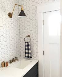 white hexagonal tiles with black grout and black cabinets Don't like ...