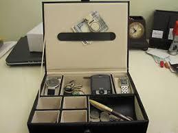 black men 039 s 6 compartment valet jewelry watch box dresser image is loading black men 039 s 6 compartment valet jewelry