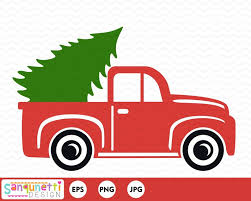 Christmas vintage pickup truck clipart vector art for holiday | Etsy