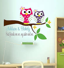 owl wall decoration awesome personalized childrens decor sisters wall decal owl wall art