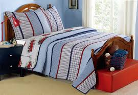 vintage fire truck striped boys bedding twin full queen quilt set blue red white reversible cotton