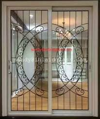 china wrought iron glass panel with 12 12 black steel bar in sliding door supplier