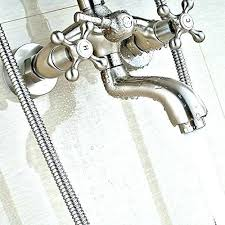 two handle shower faucet brushed nickel pressure balanced system with rain tub ha