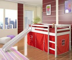 kids bedroom delightful kids bedroom interior decor using short loft bed for kids with white wood finish and slide also maroon comforter set also red tent bedroom kids designs bunk