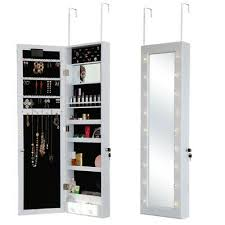 led jewellery cabinet mirror with lock