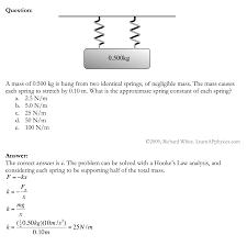 physics spring equations. solution physics spring equations