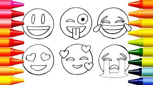 How To Draw Emoji Faces Coloring Pages Videos For Kids Learn Youtube