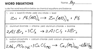 writing word equations chemistry worksheet