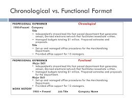 23 Chronological vs. Functional Format
