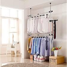 Coat Rack Bar Portable Indoor Garment Coat Rack Clothes Hanger Wardrobe 100 Poles 100 57