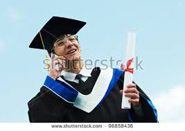 excited graduate student gown risen hands stock photo  happy graduate student in gown diploma speaking on phone over blue sky