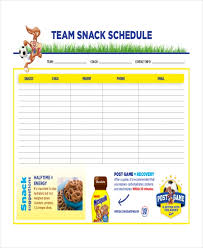Soccer Rotation Chart Snack Schedule Template 7 Free Word Excel Pdf Document