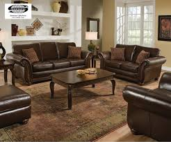 Living Room Set In Brandon Brown Leather Brandonbrown Set Gg - Leather livingroom