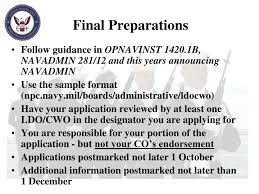 Opnavinst 1420 1b Ppt Limited Duty Officer Chief Warrant Officer Applicant Brief