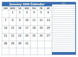 calendars with notes january 2018 calendars notes printables qualads